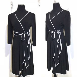 Calvin Klein black and white faux wrap midi dress